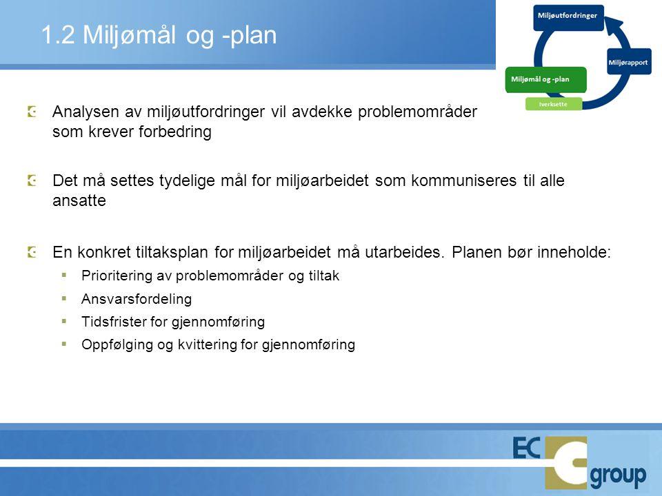 1.2 Miljømål og -plan Analysen av miljøutfordringer vil avdekke problemområder. som krever forbedring.