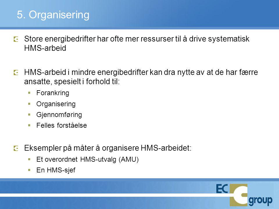 5. Organisering Store energibedrifter har ofte mer ressurser til å drive systematisk HMS-arbeid.
