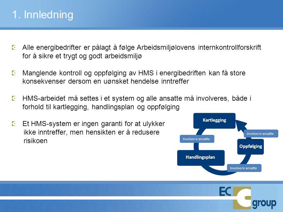 1. Innledning Alle energibedrifter er pålagt å følge Arbeidsmiljølovens internkontrollforskrift for å sikre et trygt og godt arbeidsmiljø.