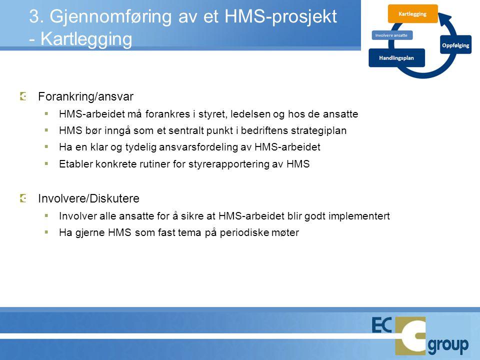 3. Gjennomføring av et HMS-prosjekt - Kartlegging