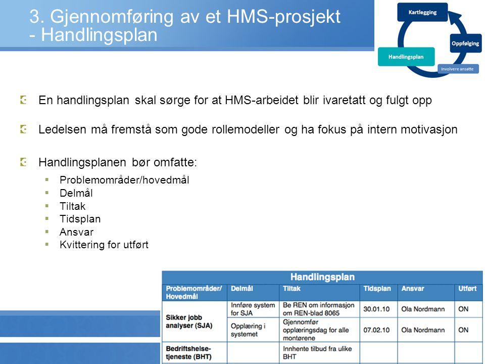 3. Gjennomføring av et HMS-prosjekt - Handlingsplan