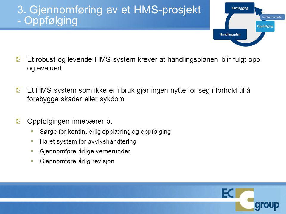 3. Gjennomføring av et HMS-prosjekt - Oppfølging