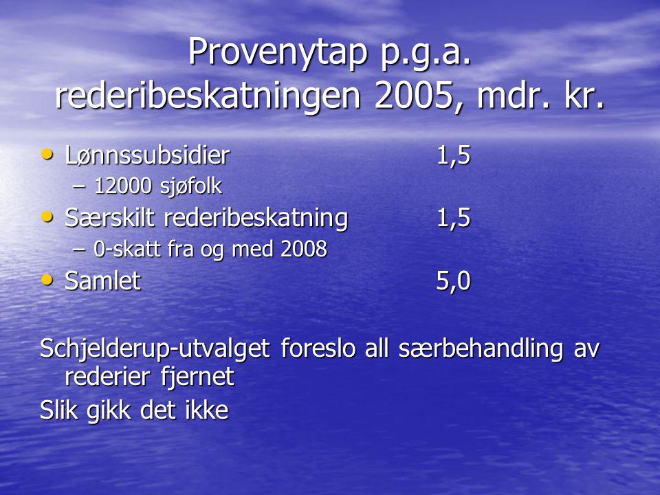 Provenytap p.g.a. rederibeskatningen 2005, mdr. kr.