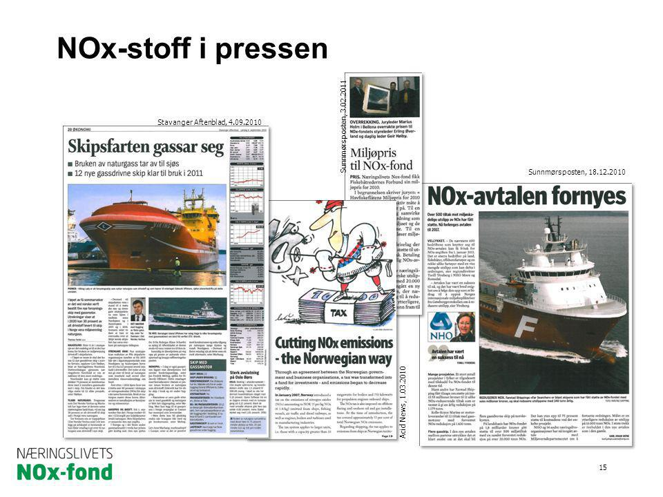 NOx-stoff i pressen Miljøavtalen om NOx fra 2008 til 2017