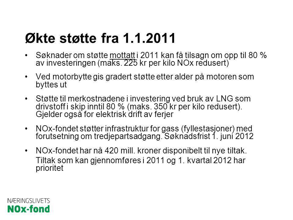 Økte støtte fra 1.1.2011 Søknader om støtte mottatt i 2011 kan få tilsagn om opp til 80 % av investeringen (maks. 225 kr per kilo NOx redusert)