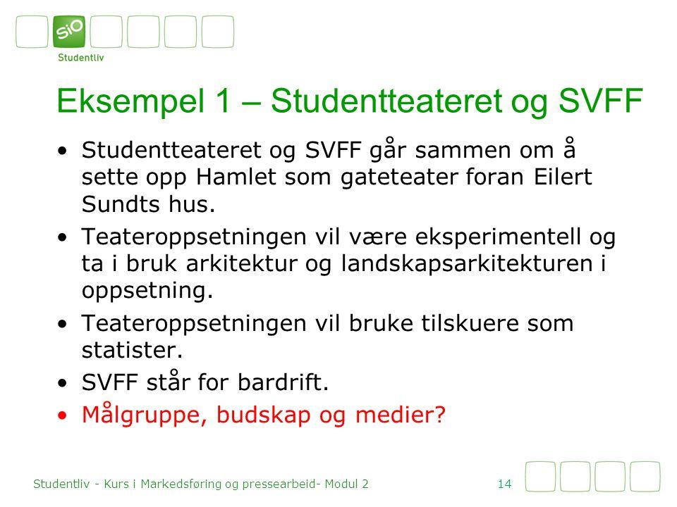 Eksempel 1 – Studentteateret og SVFF