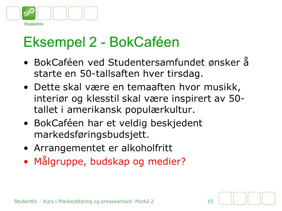 Eksempel 2 - BokCaféen BokCaféen ved Studentersamfundet ønsker å starte en 50-tallsaften hver tirsdag.