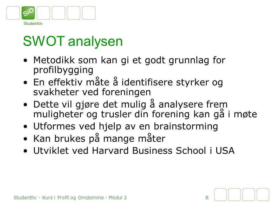 SWOT analysen Metodikk som kan gi et godt grunnlag for profilbygging