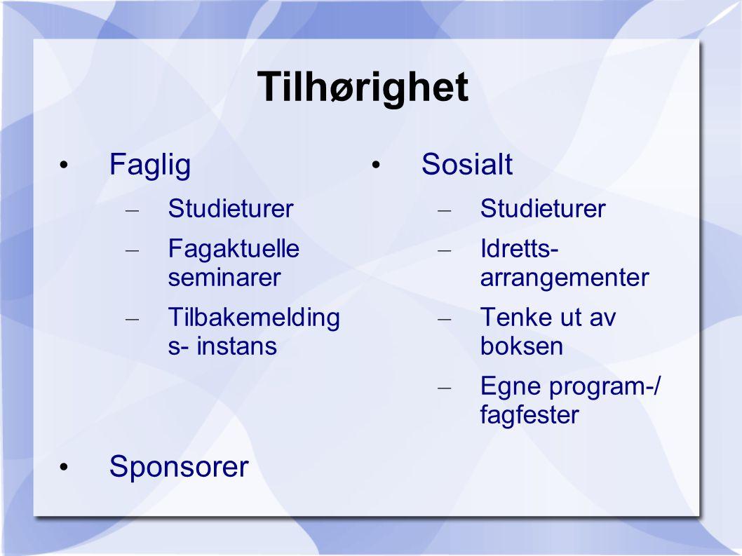 Tilhørighet Faglig Sponsorer Sosialt Studieturer Fagaktuelle seminarer