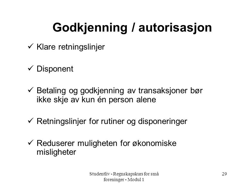 Godkjenning / autorisasjon