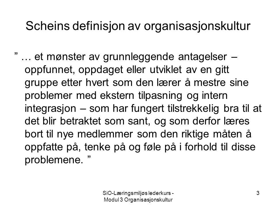 Scheins definisjon av organisasjonskultur