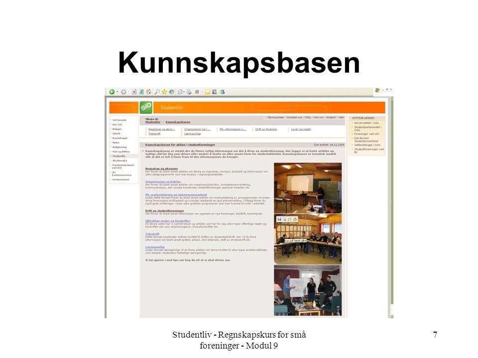 Studentliv - Regnskapskurs for små foreninger - Modul 9