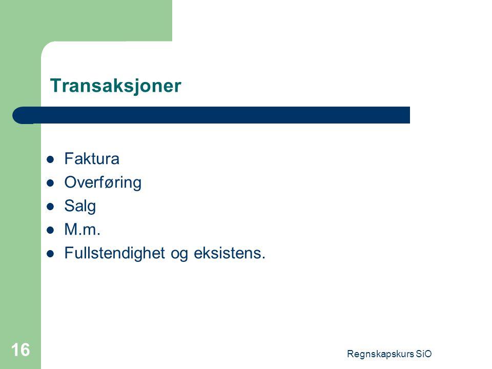 Transaksjoner Faktura Overføring Salg M.m.