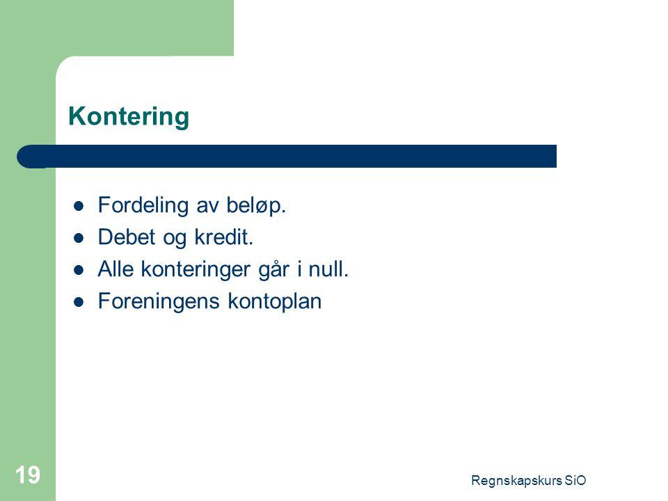 Kontering Fordeling av beløp. Debet og kredit.