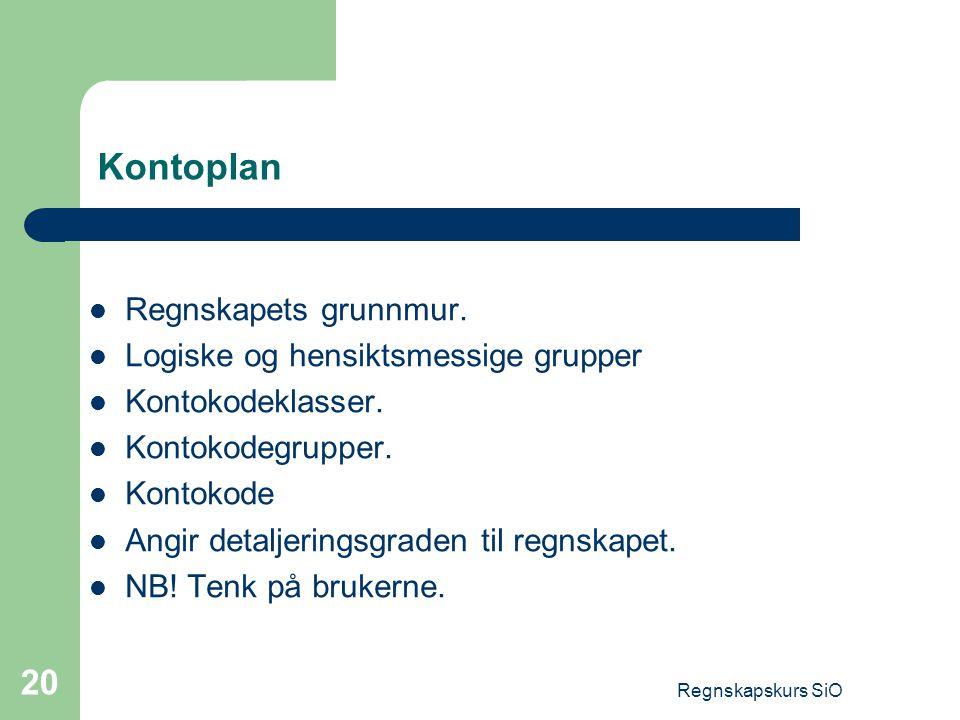 Kontoplan Regnskapets grunnmur. Logiske og hensiktsmessige grupper