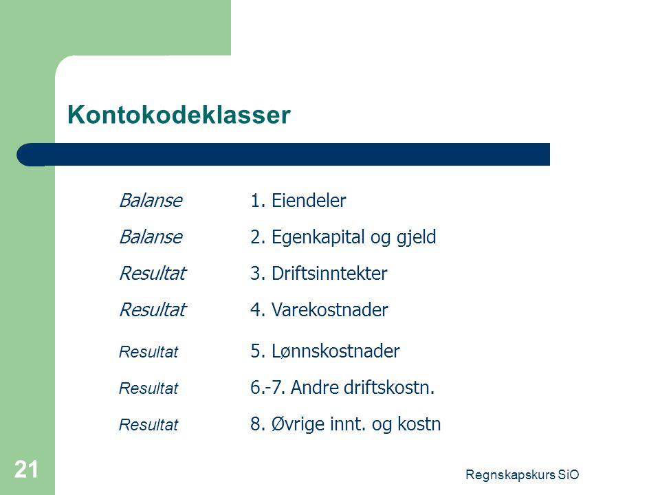 Kontokodeklasser Balanse 1. Eiendeler Balanse 2. Egenkapital og gjeld