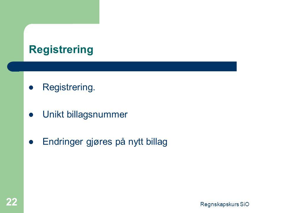 Registrering Registrering. Unikt billagsnummer