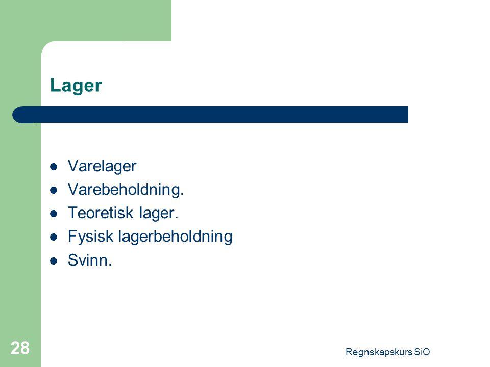 Lager Varelager Varebeholdning. Teoretisk lager.