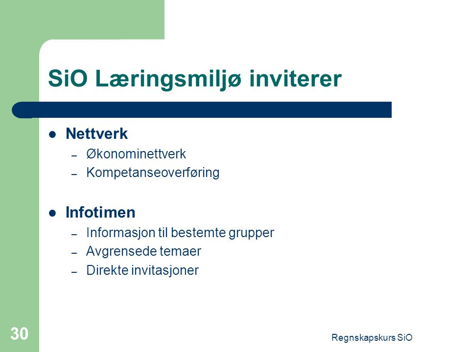 SiO Læringsmiljø inviterer