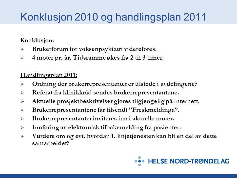 Konklusjon 2010 og handlingsplan 2011