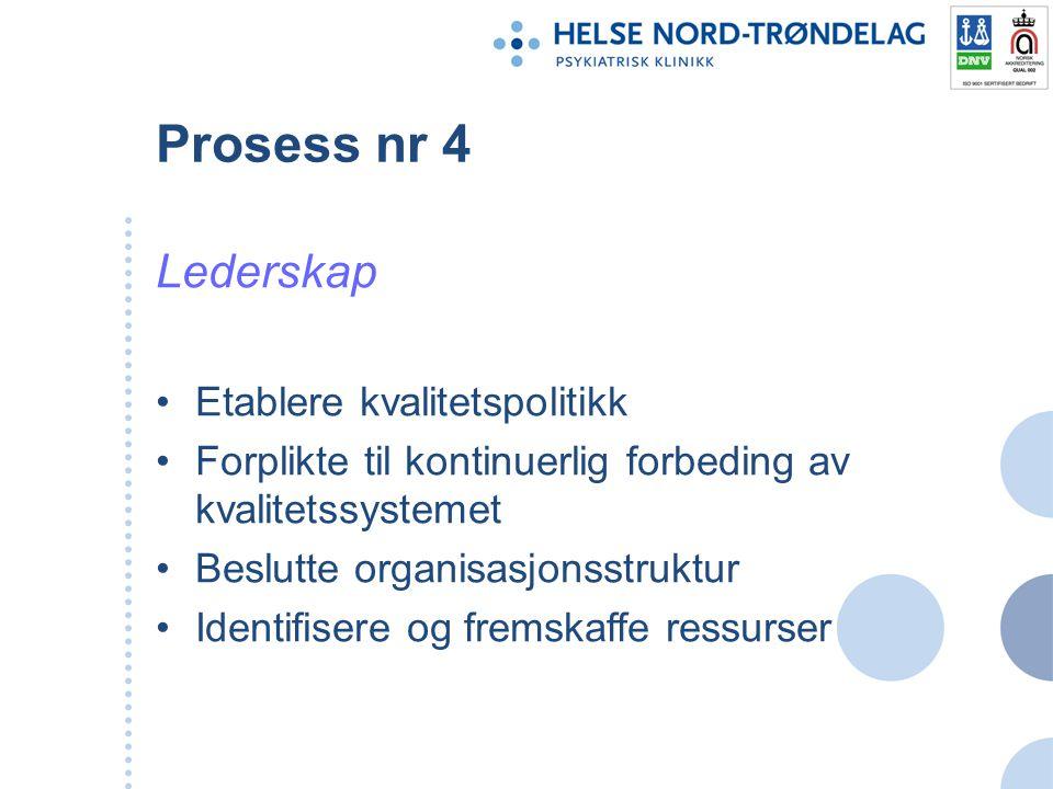 Prosess nr 4 Lederskap Etablere kvalitetspolitikk