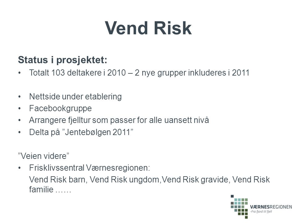 Vend Risk Status i prosjektet: