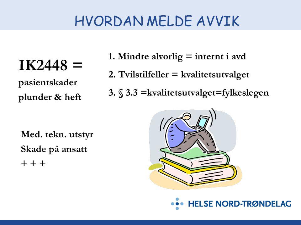 IK2448 = HVORDAN MELDE AVVIK 1. Mindre alvorlig = internt i avd