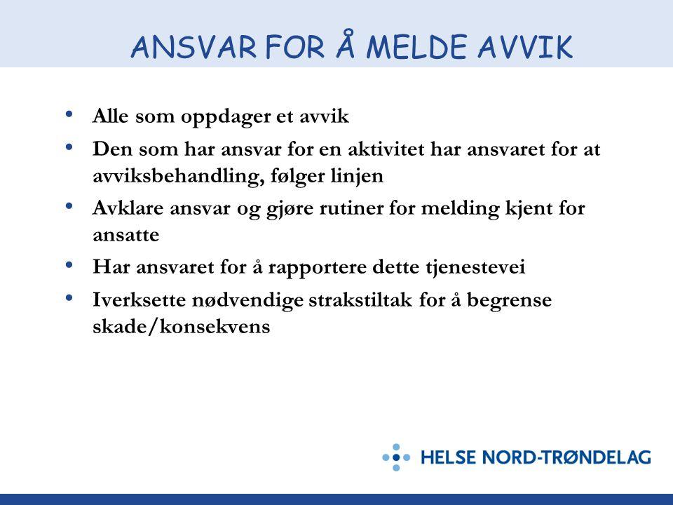 ANSVAR FOR Å MELDE AVVIK