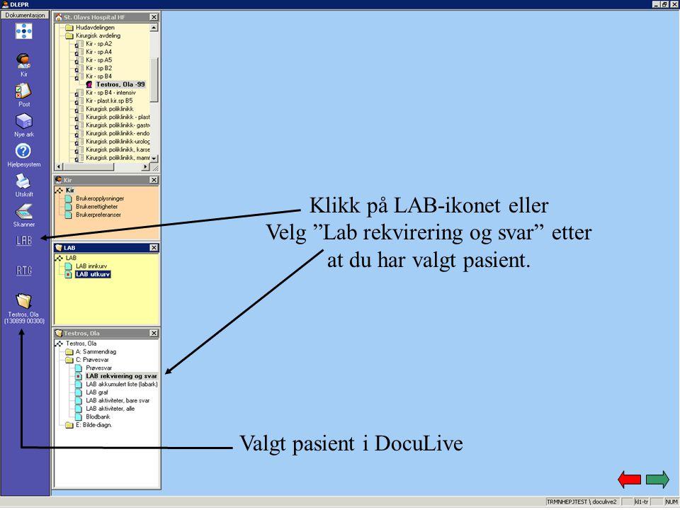 Klikk på LAB-ikonet eller Velg Lab rekvirering og svar etter