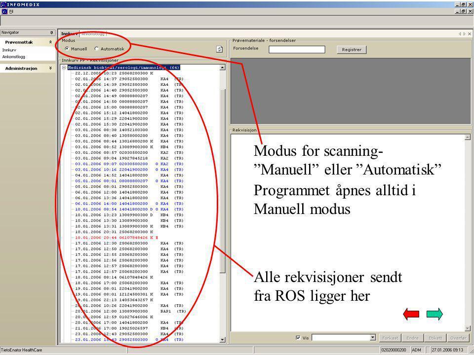 Modus for scanning- Manuell eller Automatisk