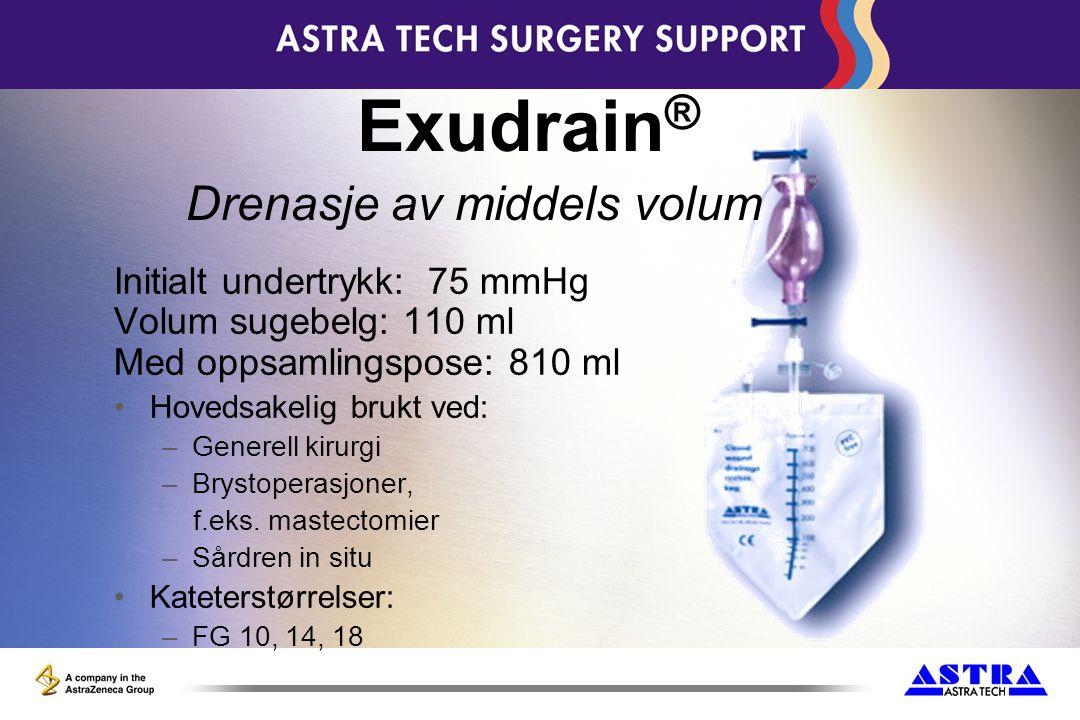 Exudrain® Drenasje av middels volum Initialt undertrykk: 75 mmHg