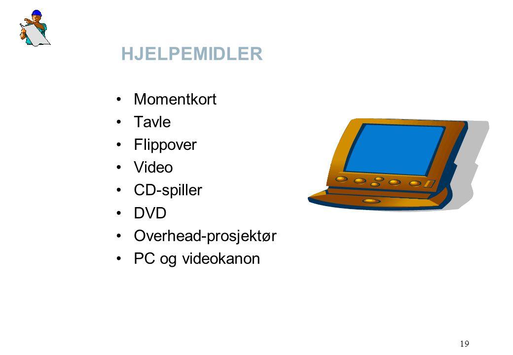 HJELPEMIDLER Momentkort Tavle Flippover Video CD-spiller DVD