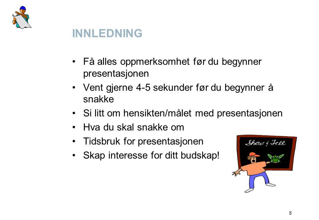 INNLEDNING Få alles oppmerksomhet før du begynner presentasjonen