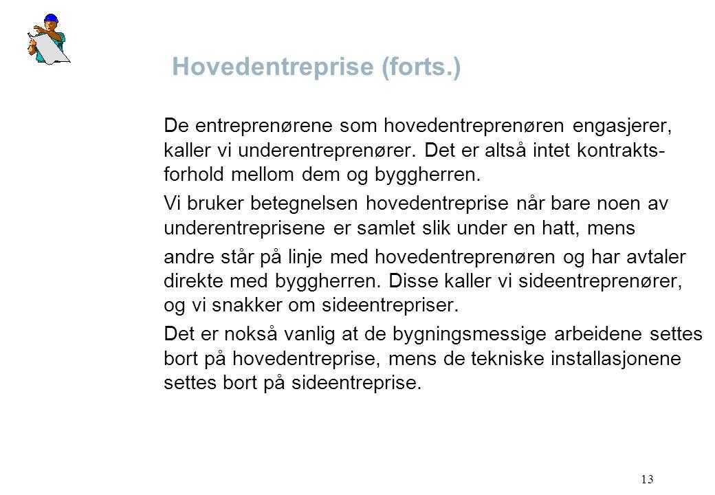 Hovedentreprise (forts.)