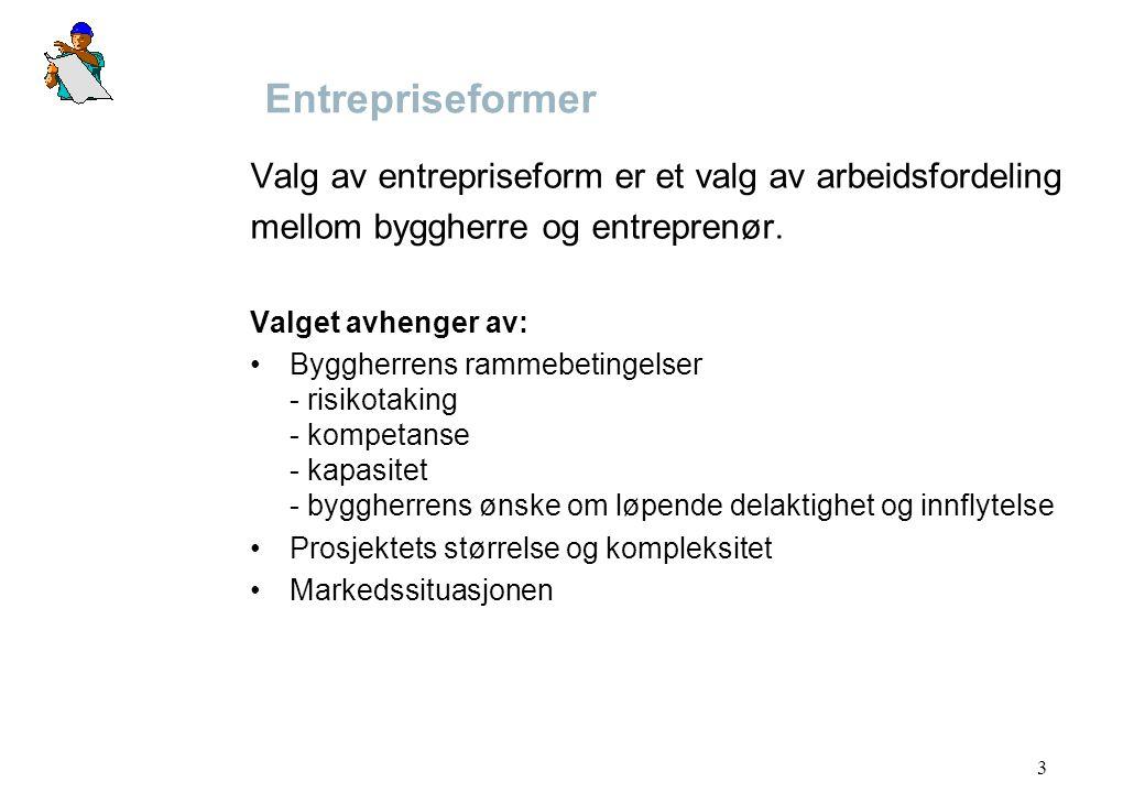 Entrepriseformer Valg av entrepriseform er et valg av arbeidsfordeling
