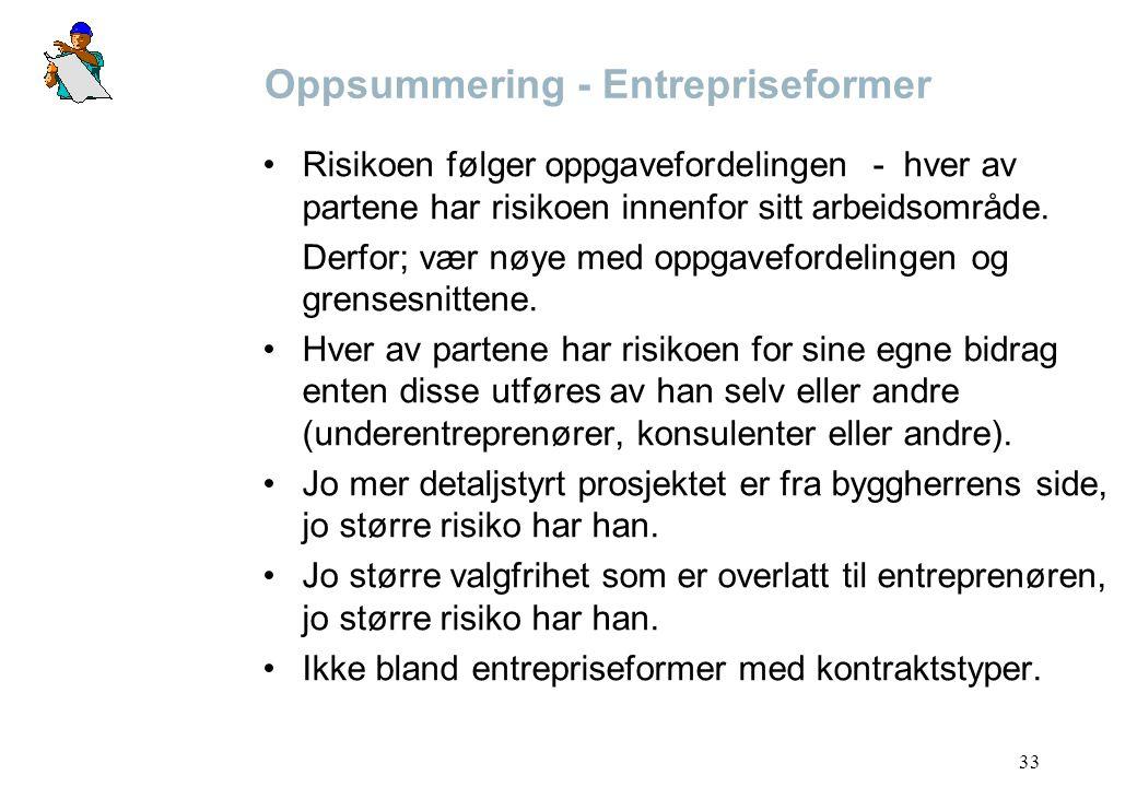Oppsummering - Entrepriseformer