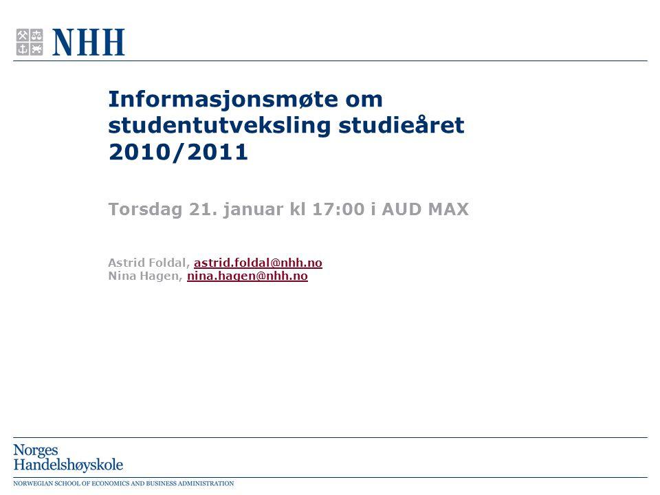 Informasjonsmøte om studentutveksling studieåret 2010/2011