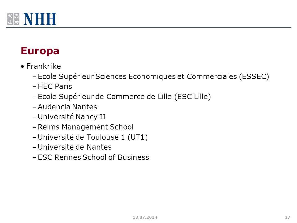 Europa Frankrike. Ecole Supérieur Sciences Economiques et Commerciales (ESSEC) HEC Paris. Ecole Supérieur de Commerce de Lille (ESC Lille)