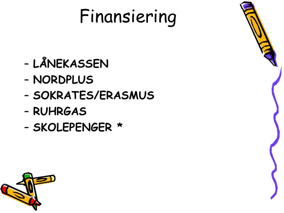 Finansiering LÅNEKASSEN NORDPLUS SOKRATES/ERASMUS RUHRGAS
