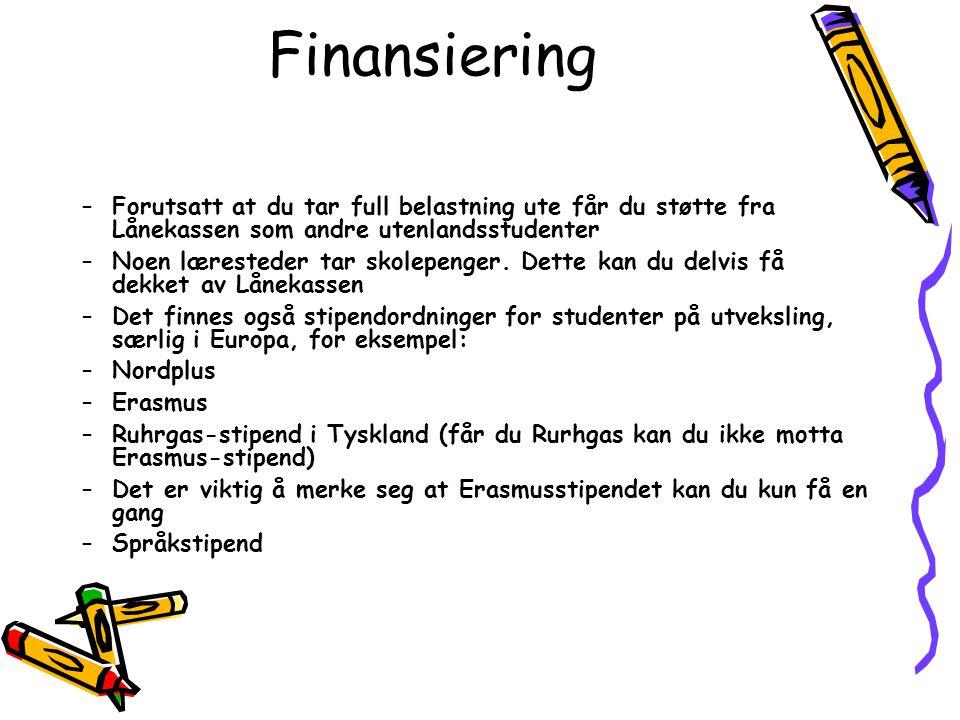 Finansiering Forutsatt at du tar full belastning ute får du støtte fra Lånekassen som andre utenlandsstudenter.