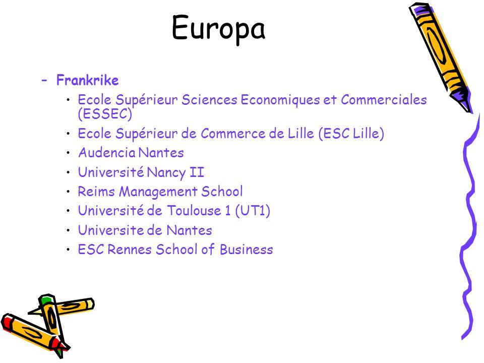 Europa Frankrike. Ecole Supérieur Sciences Economiques et Commerciales (ESSEC) Ecole Supérieur de Commerce de Lille (ESC Lille)