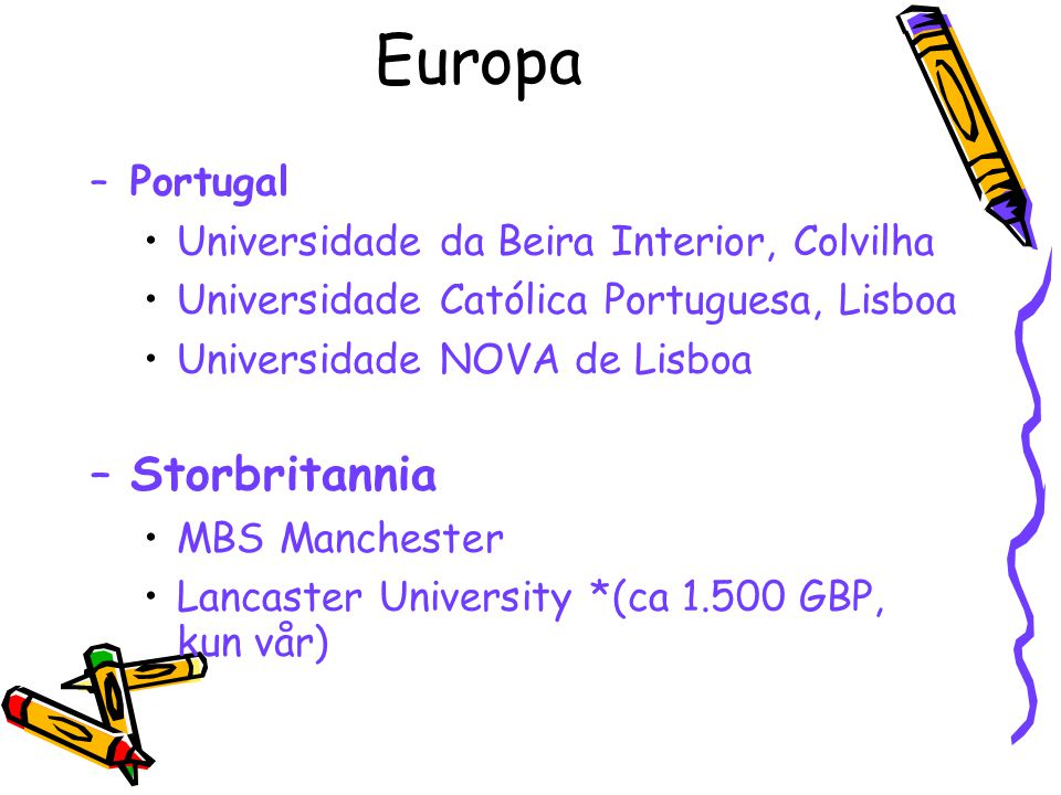 Europa Storbritannia Portugal Universidade da Beira Interior, Colvilha