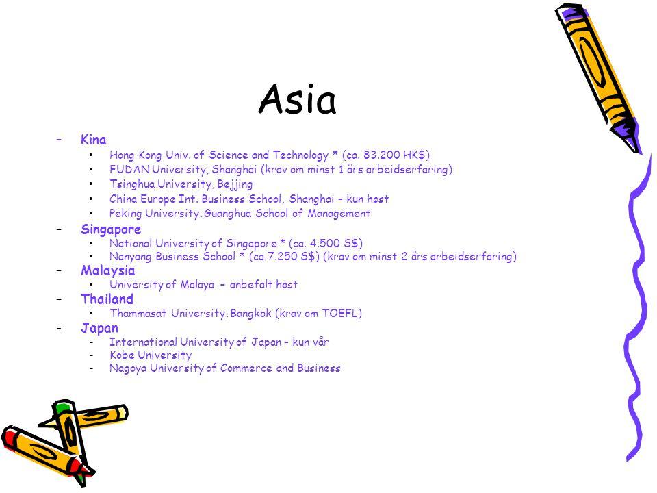 Asia Kina Singapore Malaysia Thailand Japan