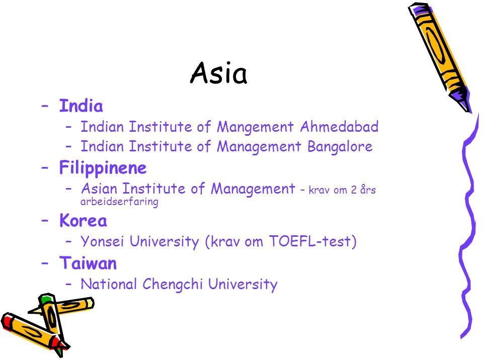 Asia India Filippinene Korea Taiwan