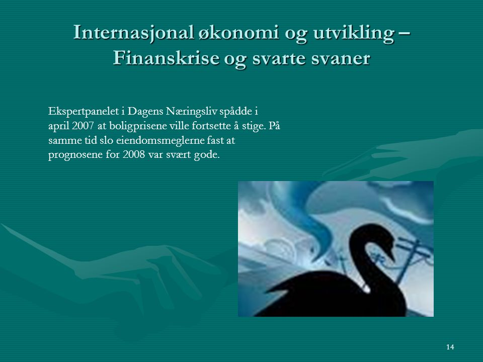 Internasjonal økonomi og utvikling – Finanskrise og svarte svaner