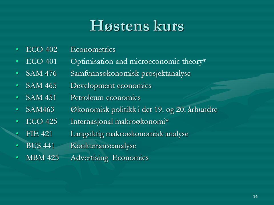 Høstens kurs ECO 402 Econometrics