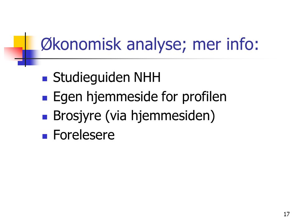 Økonomisk analyse; mer info: