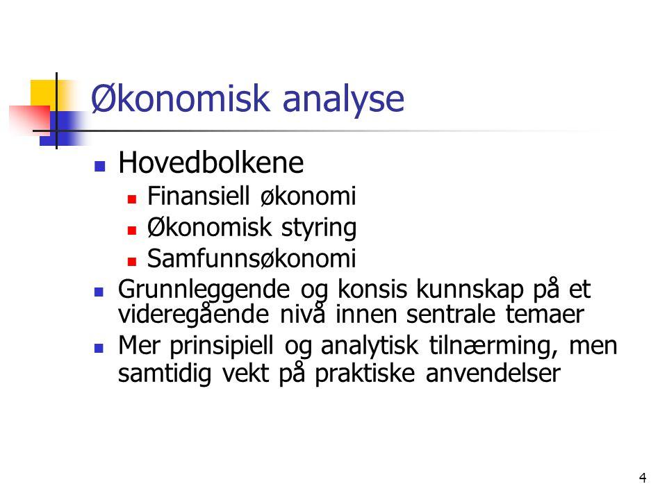 Økonomisk analyse Hovedbolkene Finansiell økonomi Økonomisk styring