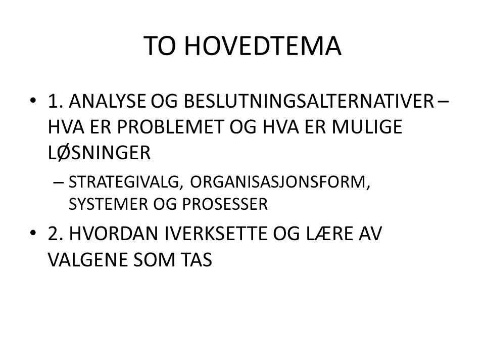 TO HOVEDTEMA 1. ANALYSE OG BESLUTNINGSALTERNATIVER – HVA ER PROBLEMET OG HVA ER MULIGE LØSNINGER.