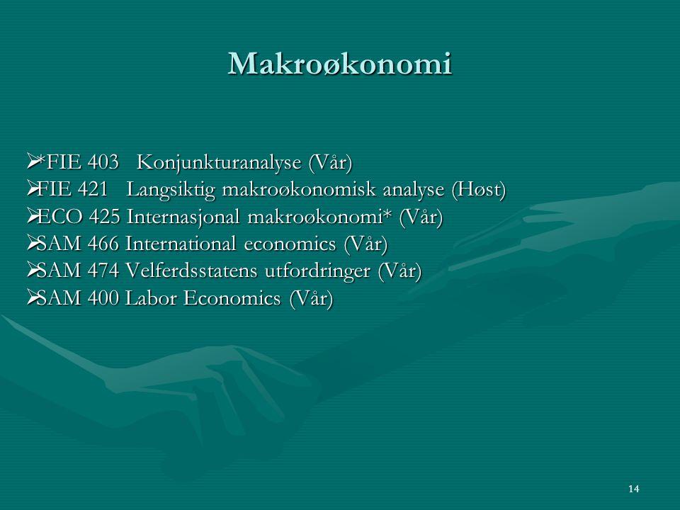 Makroøkonomi *FIE 403 Konjunkturanalyse (Vår)